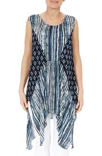 Sleeveless Dip Hem Panelled Tunic