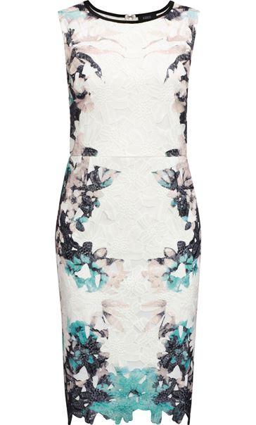 Printed Lace Layer Sleeveless Midi Dress