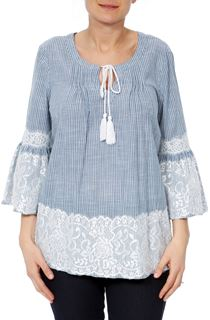 Lace Trim Bell Sleeve Stripe Cotton Top