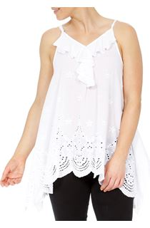 Dip Hem Broderie Anglaise Cotton Top - White