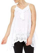 Dip Hem Broderie Anglaise Cotton Top