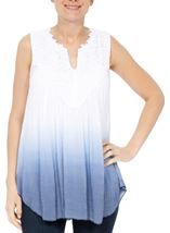 Crochet Trim Sleeveless Ombre Top