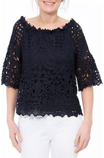 Lace Three Quarter Sleeve Bardot Top - Blue