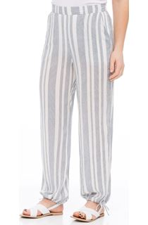 Striped Tie Cuff Pull On Trousers