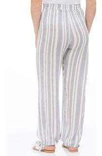 Striped Tie Cuff Pull On Trousers - White