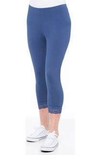 Cropped Lace Trimmed Leggings - Airforce