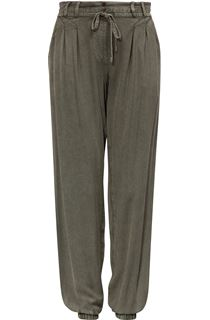 Elasticated Cuff Loose Fitting Embroidered Trousers - Khaki