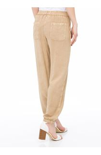 Elasticated Cuff Loose Fitting Embroidered Trousers - Beige