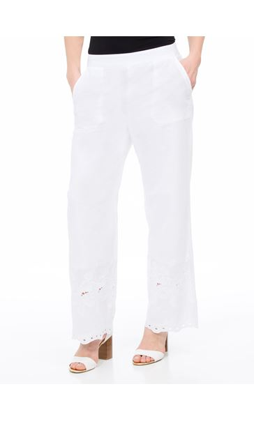Embroidered Wide Leg Cotton Trousers