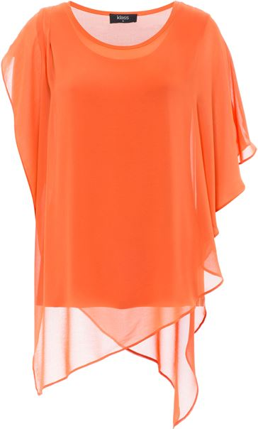 Chiffon And Jersey Layered Top
