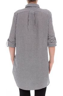 Dip Hem Seersucker Gingham Top - Black/White