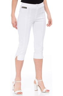 Cropped Stretch Slim Trousers - White