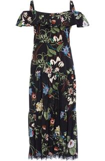 Cold Shoulder Floral Printed Midi Dress