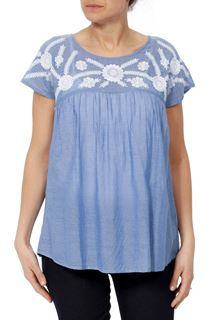 Embroidered Short Sleeve Cotton Top