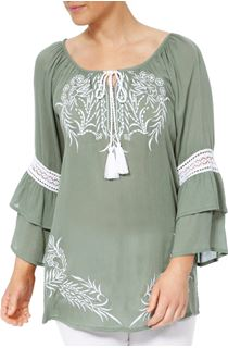Embroidered Layered Sleeve Boho Top