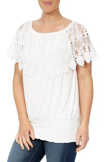 Lace Trim Jersey Top - White