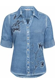 Anna Rose Embroidered Washed Blouse - Blue