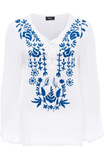 Long Sleeve Embroidered Boho Top