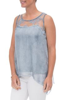 Sleeveless Lace Trim Chiffon Top - Blue