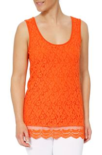 Sleeveless Lace Layered Top - Orange