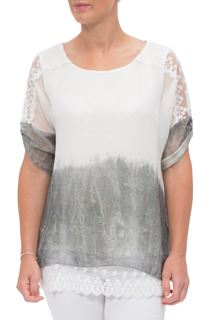 Lace Trim Crinkle Chiffon Top