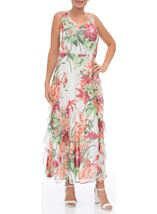 Printed Chiffon Ruffle Maxi Dress