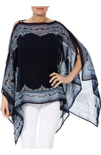 Convertible Georgette Cover Up - Dark Blue/Multi