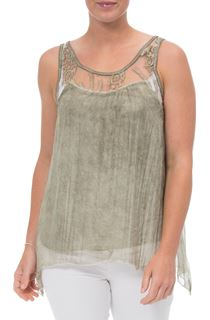 Sleeveless Lace Trim Chiffon Top - Tarragon