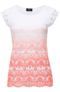 Short Sleeve Crochet Layered Ombre Top - Multi