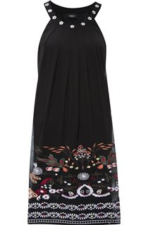 Embroidered Sleeveless Chiffon Midi Dress