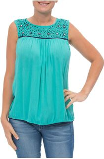 Sleeveless Lace Trim Top - Caribbean