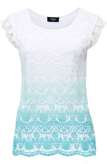Short Sleeve Crochet Layered Ombre Top - Caribbean/White
