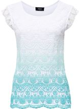 Short Sleeve Crochet Layered Ombre Top