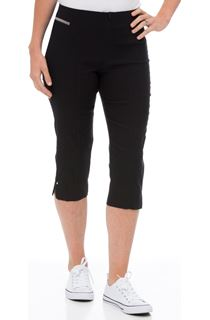 Cropped Stretch Slim Trousers - Black