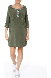 Embroidered Washed Look Tunic - Sage Green