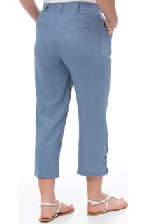 Anna Rose Cropped Linen Blend Trousers - Blue