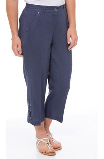 Anna Rose Cropped Linen Blend Trousers - Navy