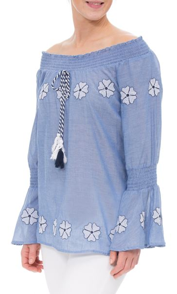 Embroidered Smocked Cotton Top