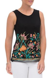 Embroidered Mesh Sleeveless Top