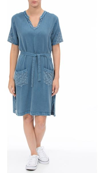 Embroidered Washed Short Sleeve Tunic