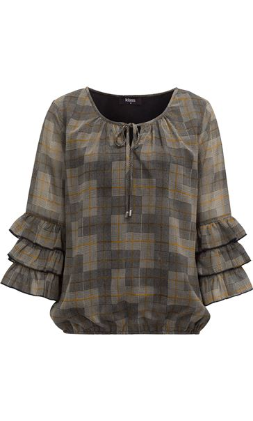 Checked Georgette Layered Sleeve Top