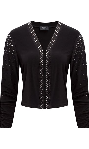 Embellished Long Sleeve Open Cover Up