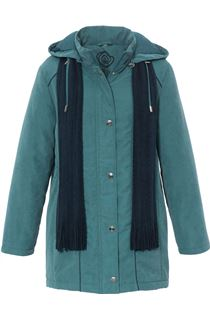 Anna Rose Hooded Coat With Scarf - Green
