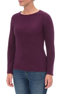 Anna Rose Cable Detail Knit Top - Plum