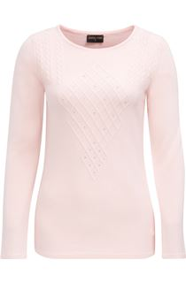 Anna Rose Cable Detail Knit Top - Soft Pink