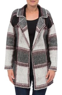 Brushed Knit Checked Open Cardigan