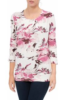 Anna Rose Pleat Neck Floral Top