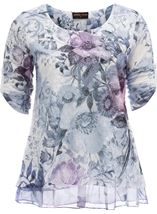 Anna Rose Embellished Lace layer Print Top