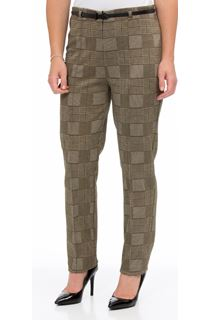 Checked Narrow Leg Belted Trousers