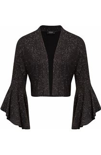 Glitter Frill Sleeve Open Cover Up - Black/Silver